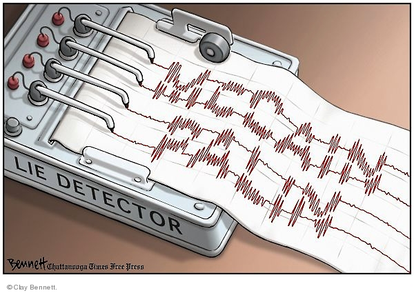 Cartoonist Clay Bennett  Clay Bennett's Editorial Cartoons 2008-09-19 lie detector