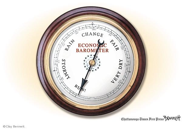 Economic barometer. Very dry. Fair. Change. Rain. Stormy. Run!