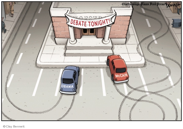 Debate Tonight.  Obama.  McCain.  (McCains car has swerved from side to side of road while Obamas car has taken a straight road.)