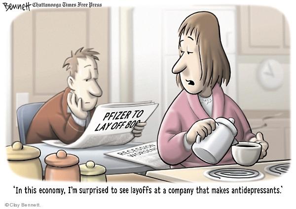 Cartoonist Clay Bennett  Clay Bennett's Editorial Cartoons 2009-01-14 recession