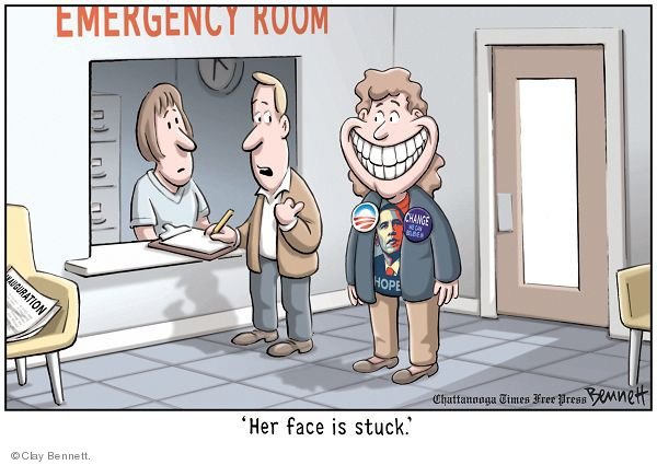 Emergency room. Her face is stuck. Change we can believe in. Hope. Inauguration.