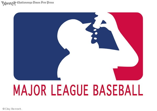 Major League Baseball.  (Logo includes an outline of a player taking pills.)