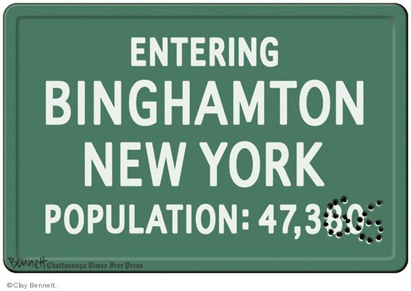 Entering Binghamton New York. Population: 47,380 (47,366).