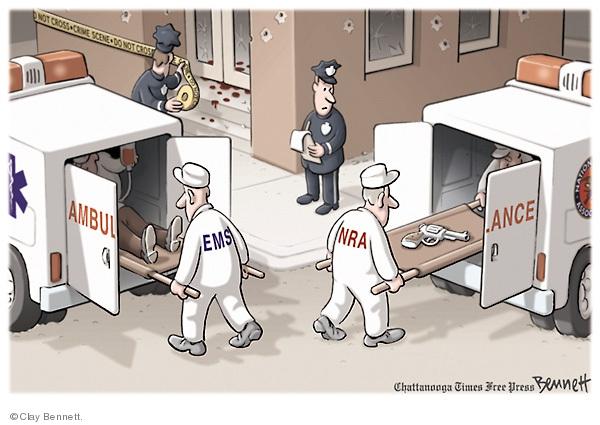 Cartoonist Clay Bennett  Clay Bennett's Editorial Cartoons 2009-04-19 second amendment