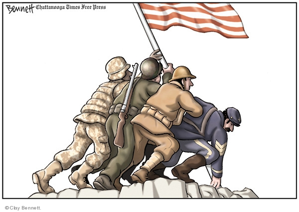 No caption. (Soldiers from different wars raise an American flag in the pose of the Iwo Jima memorial.)