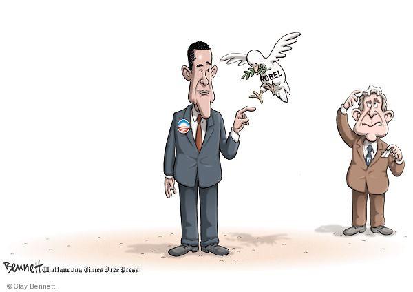 Cartoonist Clay Bennett  Clay Bennett's Editorial Cartoons 2009-10-10 Nobel Peace Prize