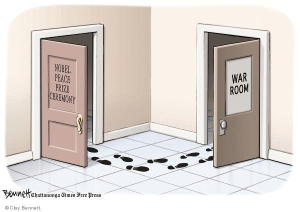Cartoonist Clay Bennett  Clay Bennett's Editorial Cartoons 2009-12-13 Nobel Peace Prize