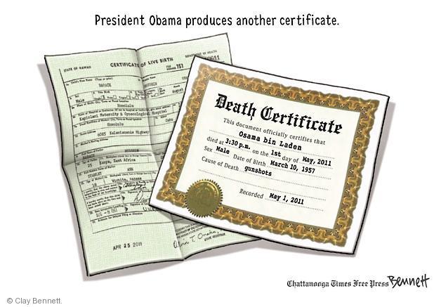 Clay Bennett  Clay Bennett's Editorial Cartoons 2011-05-03 first president