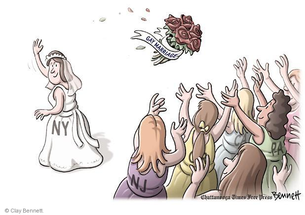 No caption. (A New York bride tosses her gay marriage wedding bouquet as New Jersey, California, and Pennsylvania reach to catch it.)