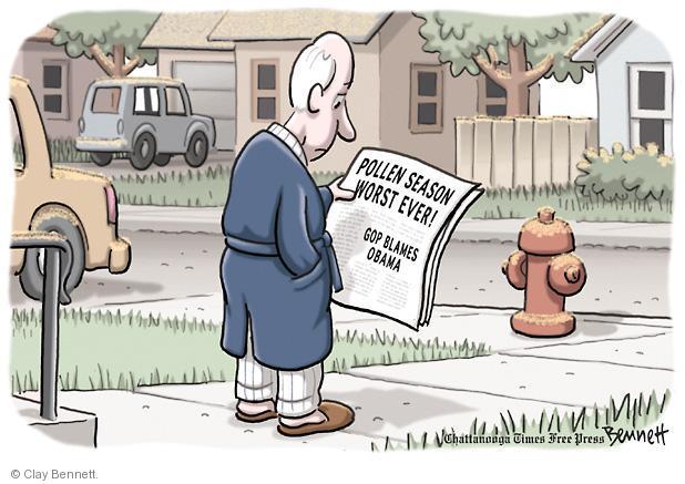 Cartoonist Clay Bennett  Clay Bennett's Editorial Cartoons 2012-04-10 blame Obama