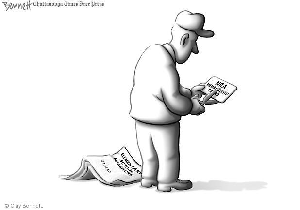 Cartoonist Clay Bennett  Clay Bennett's Editorial Cartoons 2012-12-15 school shooting