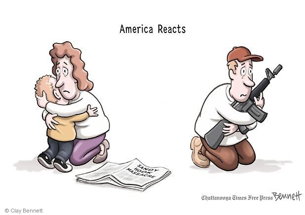 Cartoonist Clay Bennett  Clay Bennett's Editorial Cartoons 2012-12-18 assault weapon