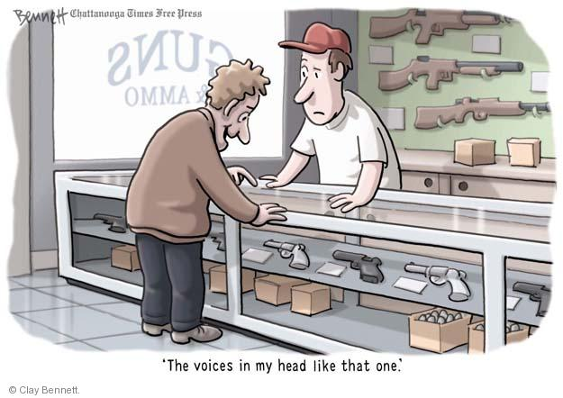 Cartoonist Clay Bennett  Clay Bennett's Editorial Cartoons 2013-04-03 assault weapon