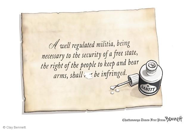 Cartoonist Clay Bennett  Clay Bennett's Editorial Cartoons 2013-09-17 assault weapon