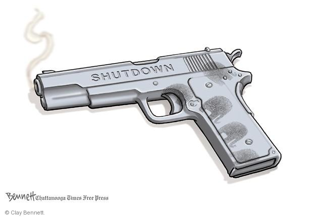 Cartoonist Clay Bennett  Clay Bennett's Editorial Cartoons 2013-10-09 government budget