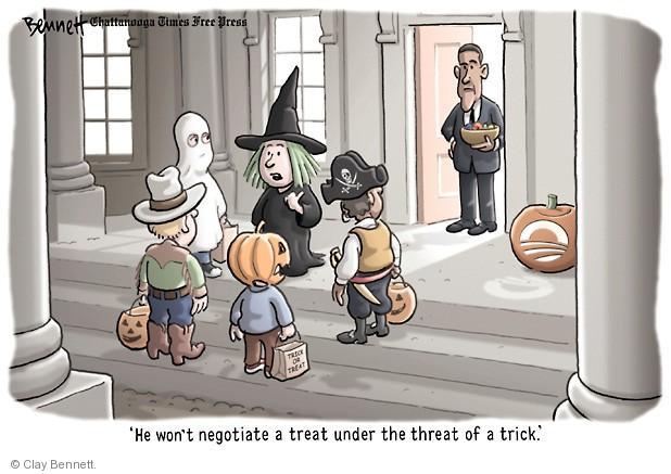 Cartoonist Clay Bennett  Clay Bennett's Editorial Cartoons 2013-10-24 negotiation