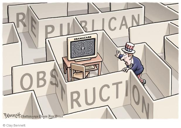 Republican obstruction. Obamacare.