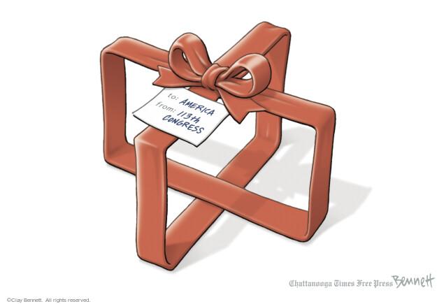 Cartoonist Clay Bennett  Clay Bennett's Editorial Cartoons 2013-12-20 negotiation