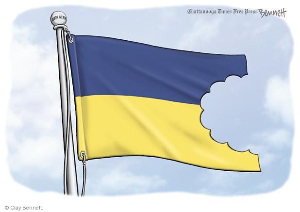 No caption (A huge bite is taken out of the Ukrainian flag).