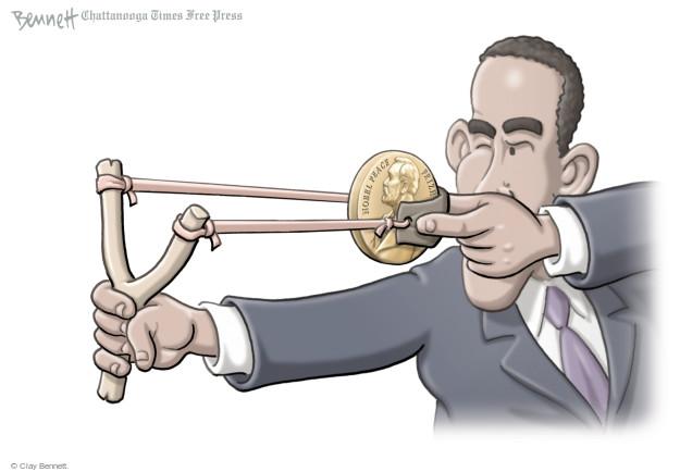 Cartoonist Clay Bennett  Clay Bennett's Editorial Cartoons 2014-09-19 Nobel Peace Prize