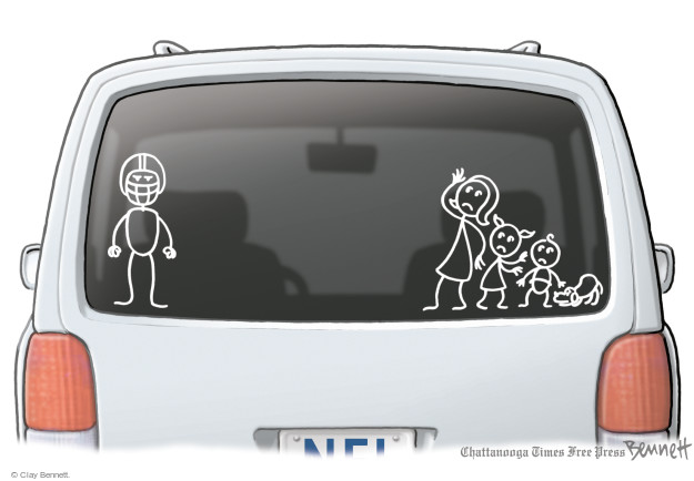 No caption. (Decals on the back window of a vehicle with an NFL license plate depict a mother, children and dog cowering in fear from a football player father).