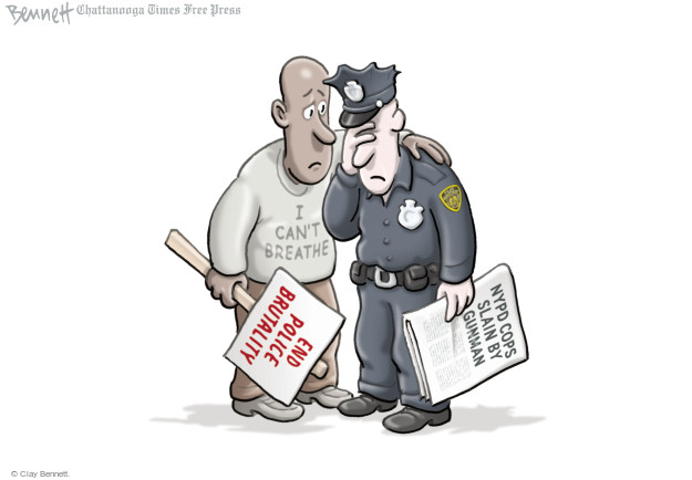 Cartoonist Clay Bennett  Clay Bennett's Editorial Cartoons 2014-12-23 gunman