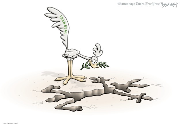 Cartoonist Clay Bennett  Clay Bennett's Editorial Cartoons 2015-04-03 nuclear weapon