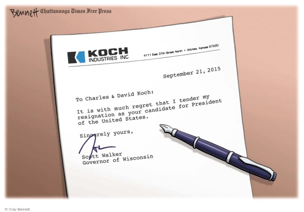 Clay Bennett  Clay Bennett's Editorial Cartoons 2015-09-23 Scott Walker