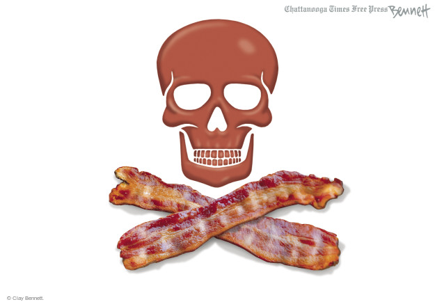 No caption (Skull with crossbones made from bacon).