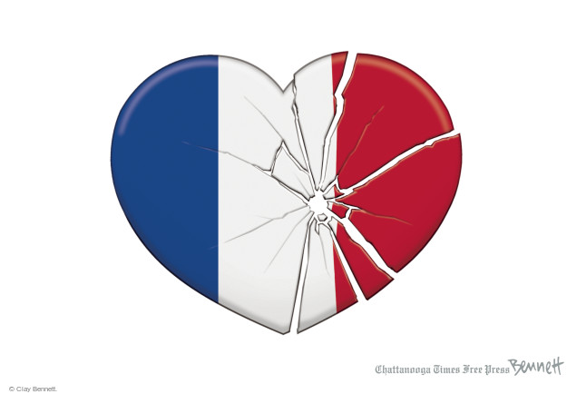No caption. (A cracked and broken heart, in the colors of the French flag, has a bullet hole through it).