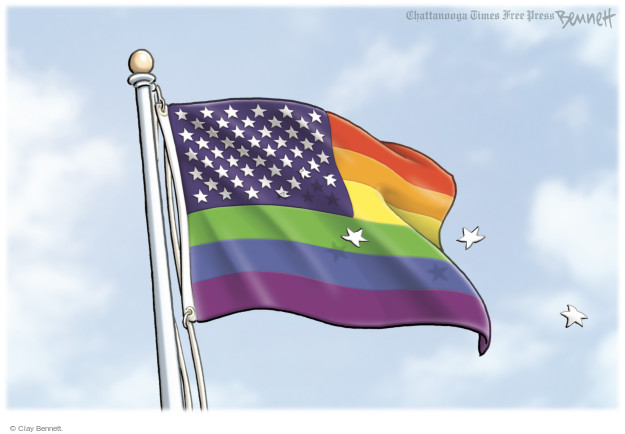 No caption (Three stars fall off of a rainbow-colored American flag).