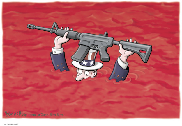 Cartoonist Clay Bennett  Clay Bennett's Editorial Cartoons 2016-06-21 weapon