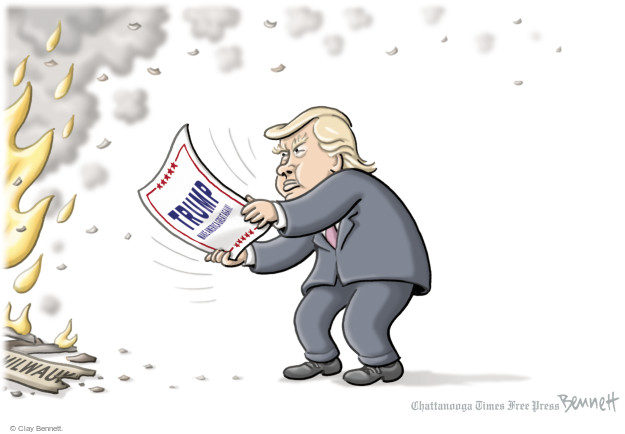Clay Bennett  Clay Bennett's Editorial Cartoons 2016-08-17 flame