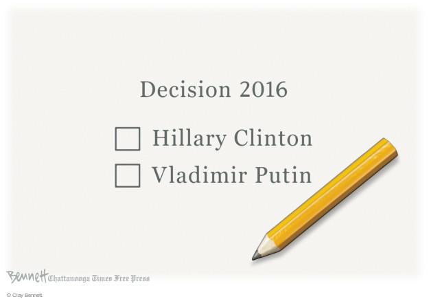 Cartoonist Clay Bennett  Clay Bennett's Editorial Cartoons 2016-10-24 Donald Trump Vladimir Putin