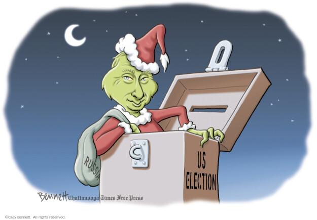 Cartoonist Clay Bennett  Clay Bennett's Editorial Cartoons 2016-12-13 Donald Trump Vladimir Putin