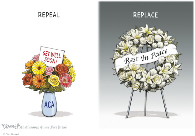 Cartoonist Clay Bennett  Clay Bennett's Editorial Cartoons 2017-01-16 affordable care act