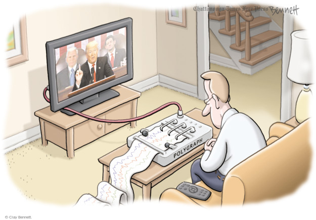 Cartoonist Clay Bennett  Clay Bennett's Editorial Cartoons 2017-03-01 lie detector