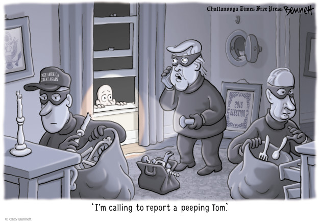 Cartoonist Clay Bennett  Clay Bennett's Editorial Cartoons 2017-04-06 Donald Trump Vladimir Putin