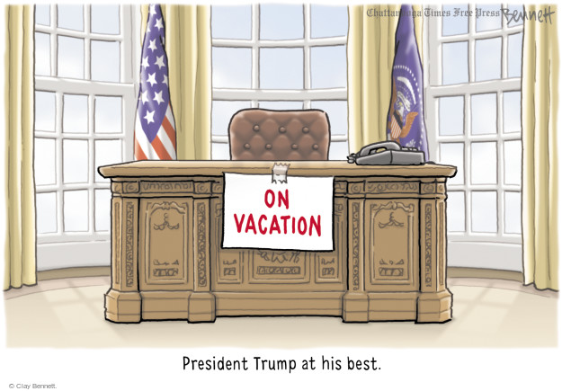 On vacation. President Trump at his best.