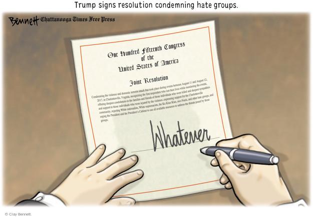 Clay Bennett  Clay Bennett's Editorial Cartoons 2017-09-18 racism