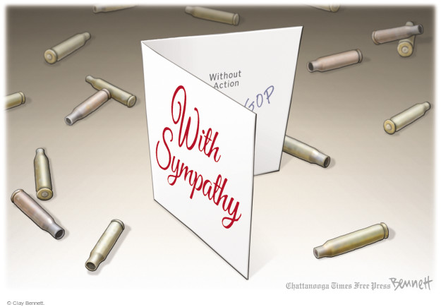 Cartoonist Clay Bennett  Clay Bennett's Editorial Cartoons 2017-10-09 gun control