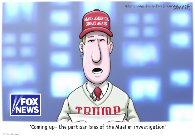 Make America Great Again. Trump. Fox News. Coming up - the partisan bias of the Mueller investigation.