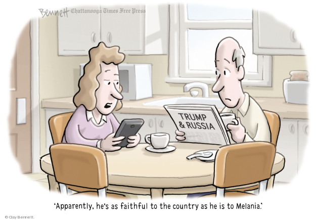 Trump & Russia. Apparently, hes as faithful to the country as he is to Melania.