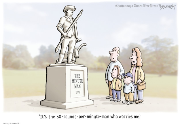 Cartoonist Clay Bennett  Clay Bennett's Editorial Cartoons 2018-02-22 weapon