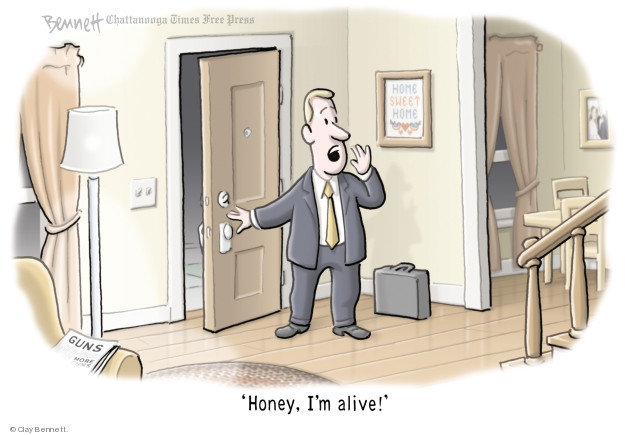 Cartoonist Clay Bennett  Clay Bennett's Editorial Cartoons 2018-02-23 weapon