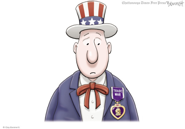 "Trade War.  (Uncle Sam wears a medal similar to the Purple Heart but with the text ""Trade War."")"