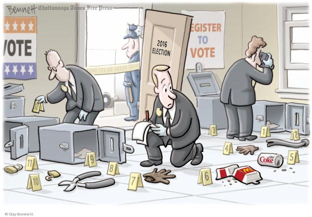 Cartoonist Clay Bennett  Clay Bennett's Editorial Cartoons 2018-04-23 Russia Collusion