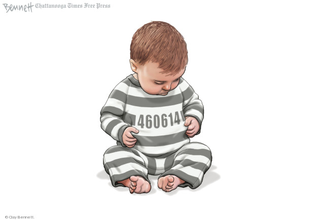 4606141.  (Toddler separated from its parents sits and looks at number printed on front of its onesie.)