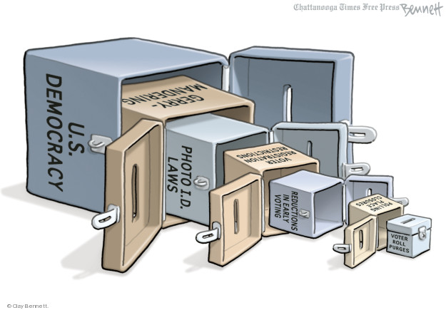 Clay Bennett  Clay Bennett's Editorial Cartoons 2018-08-31 voter ID law