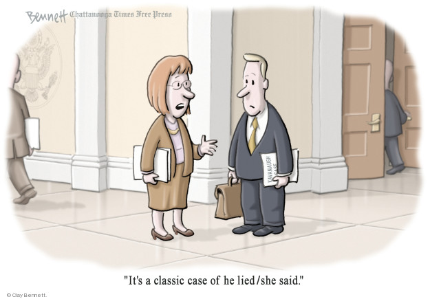 Cartoonist Clay Bennett  Clay Bennett's Editorial Cartoons 2018-09-20 accusation